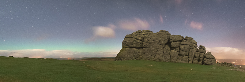 Final 3 shot panorama of Haytor Rock with the horizonal aurora