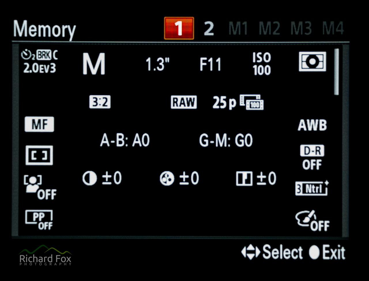 A7RM2 memory screen