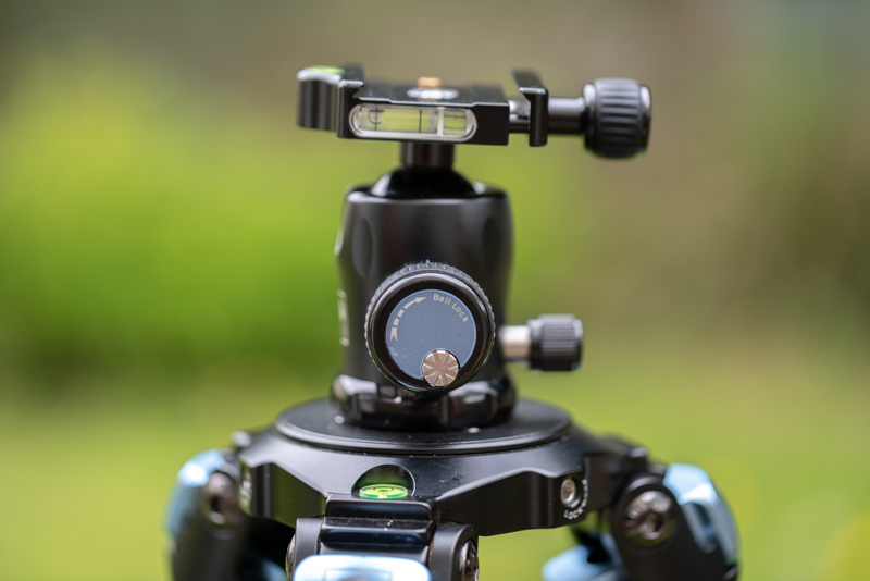 K-10X ball head with the friction adjustment dial in the main control knob