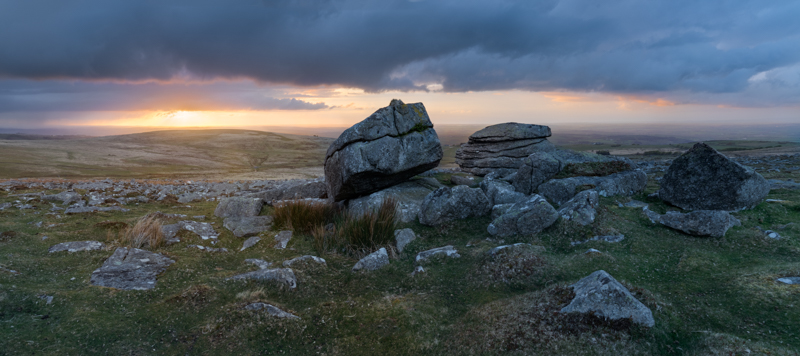 Panoramic of Rowtor, Dartmoor at sunset