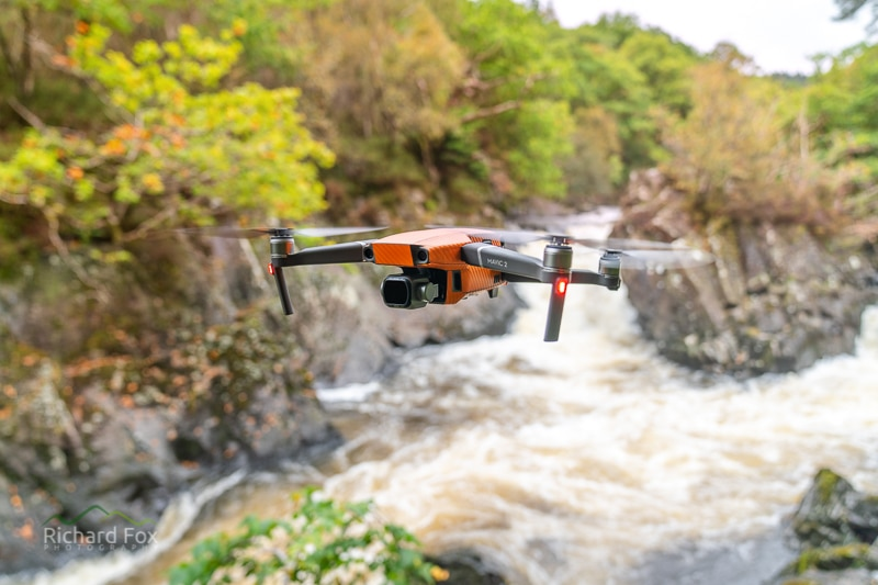 Mavic 2 Pro in flight over Lenny Falls, Callander, fitted with the Kase ND 32 Filter